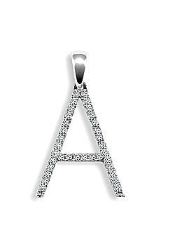 9ct White Gold Diamond Initial Identity Pendant - Letter A