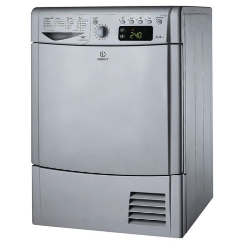 Indesit IDCE8450BSH Condenser Tumble Dryer, 8Kg Load, B Energy Rating, Silver