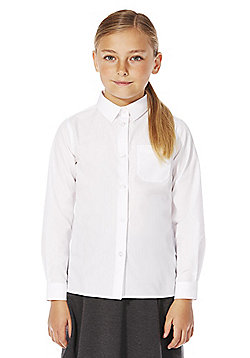 F&F School 2 Pack of Girls Easy Iron Plus Fit Long Sleeve Shirts - White