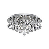 Medium Flush Ceiling Light in Polished Chrome with Crystal Drops