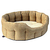 P & L Superior Pet Beds Machine Washable Premium Oval Basket Weave Softee Dog Bed - Beige - Large (24 cm H x 76 cm W x 64 cm D)