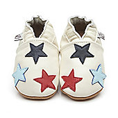 Olea London Soft Leather Baby Shoes Little Stars Cream - Cream