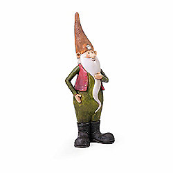 Monty the Standing Resin Garden Gnome Ornament with Orange Hat