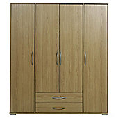 Newport 4 Door 2 Drawer Wardrobe Oak
