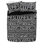 Tesco Words Duvet Cover And Pillowcase Set, Black, King Size