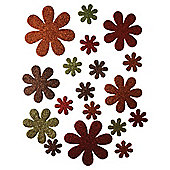 Antique Glitter Blooms, Self-Adhesive Stickers, 18 Pieces