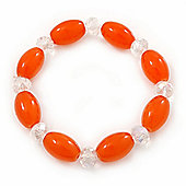 Orange/ Transparent Glass Bead Stretch Bracelet - 17cm Length