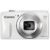 "Canon Powershot SX600 Digital Camera, White, 16MP, 18x Optical Zoom, 3"" LCD Screen, Wi-Fi"