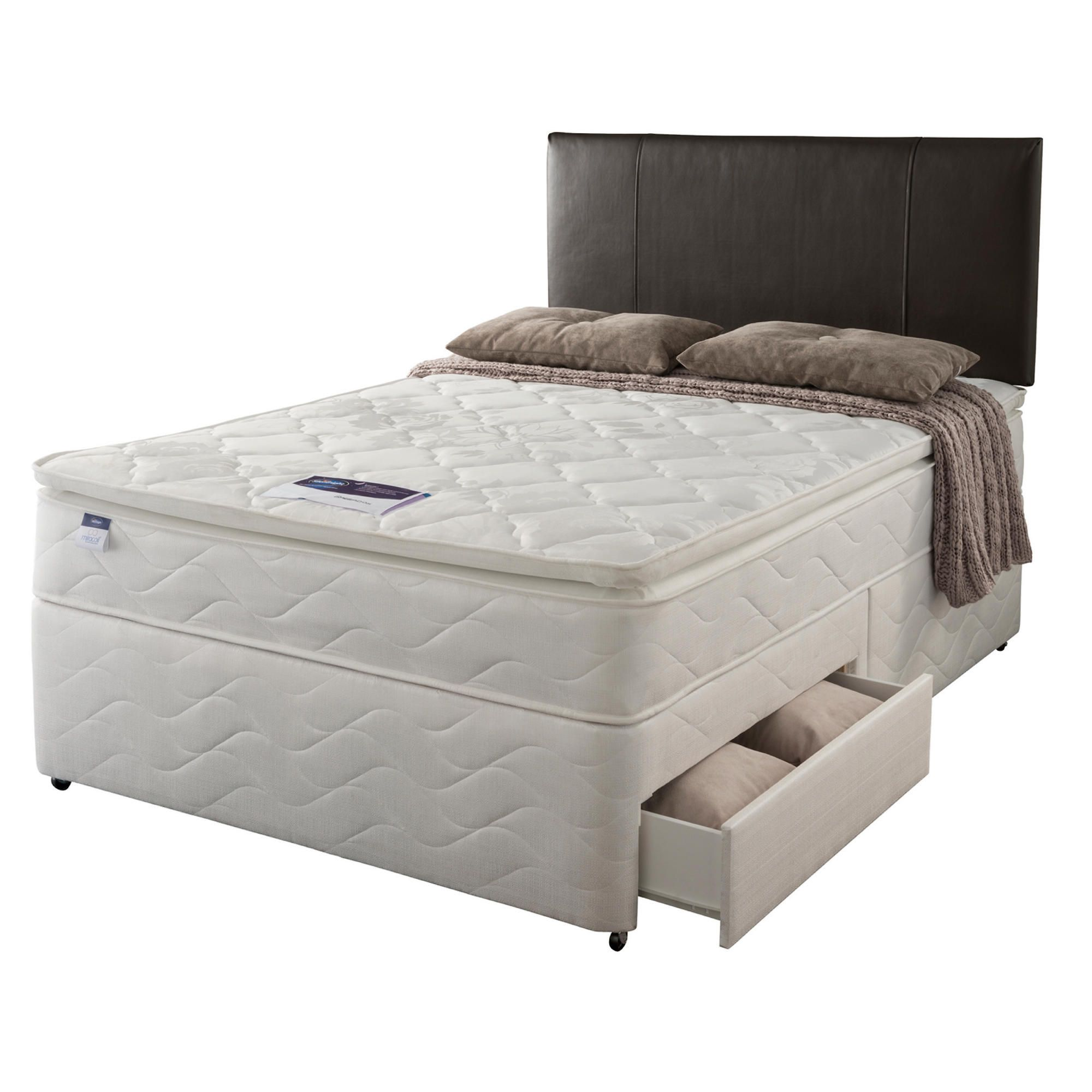 Silentnight Miracoil Pillowtop Fiji King 2 Drawer Divan set at Tesco Direct