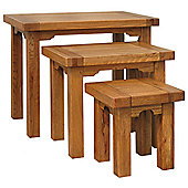 Kelburn Furniture Toulouse 3 Piece Nest of Table Set in Medium Oak Stain and Satin Lacquer