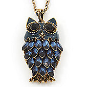 Long Blue Diamante Cute Owl Pendant In Antique Gold Plating - 70cm Length/ 10cm Extension