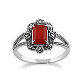 Gemondo 925 Sterling Silver Art Deco 0.85ct Orange Carnelian & Marcasite Ring