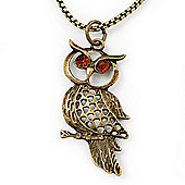Long Filigree Owl Pendant Necklace In Burn Gold Metal - 66cm length
