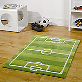 Rugs with Flair Kiddy Play Football Pitch Green Kids Rug - 70cm x 100cm