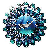 Iron Stop Designer Animated Dolphin Wind Spinner 10in Garden Feature