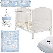 OBaby Beverley Cot Bed Blue Bundle (White)