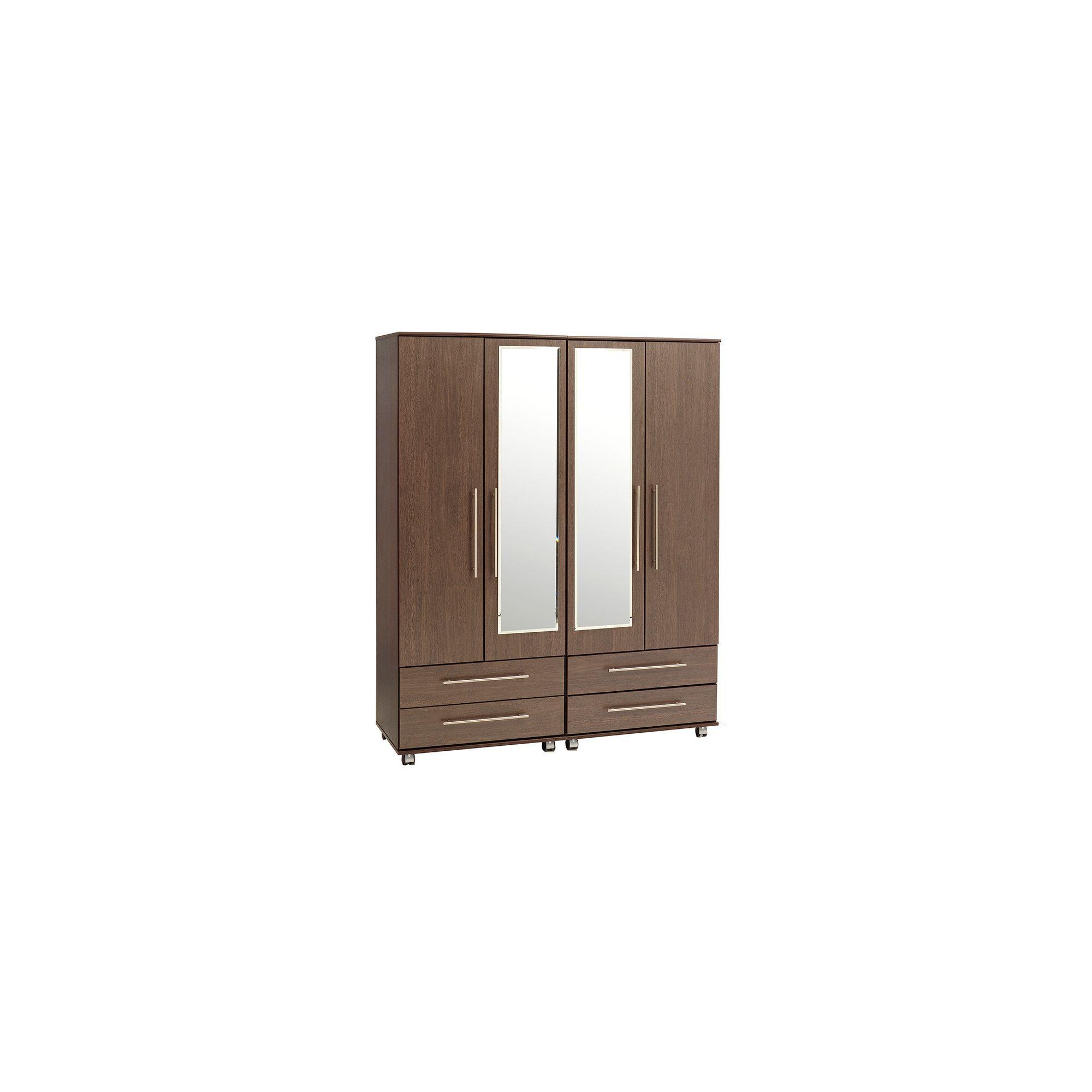 Ideal Furniture New York 4 Door Wardrobe - Oak at Tesco Direct
