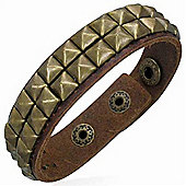 Urban Male Men's Modern Brown Leather Brass Coloured Stud Bracelet