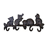 Cast Iron Cats on a Branch Coat Hook Home or Garden Accessory