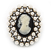 Large Simulated Pearl 'Classic Cameo' Cocktail Ring In Black Tone Metal (Adjustable) - 5.5cm Length