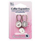 Hemline 15mm Metal Collar Extenders Wonder Button (3 Pieces)