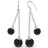 Jewelco London Sterling Silver Crystal 8mm & 10mm Double Disco Drops Shamballa Earrings - black