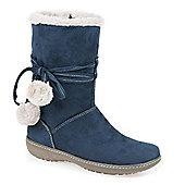 Pavers Calf Boot with Wraparound Lace & Pom Poms - Blue