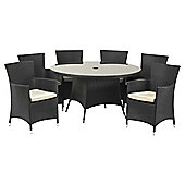 Royalcraft Cannes 140cm Round Dining Set & Carver 6 seater - Black