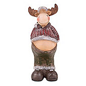 Large Standing Christmas Reindeer Ornament In Terracotta