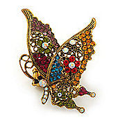 'La Mariposa' Swarovski Encrusted Butterfly Cocktail Stretch Ring In Burn Gold Finish (Multicoloured) - Adjustable size 7/8