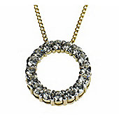 "18ct Gold Moissanite Circle Pendant with 46cm (18"") Curb Chain"