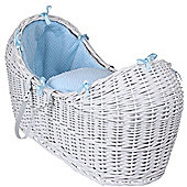 Clair de Lune White Noah Pod Moses Basket (Honeycomb Blue)