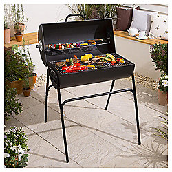Tesco Barrel Charcoal BBQ with Cover, Black