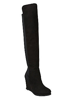 F&F Faux Suede Over the Knee Wedge Boots - Black