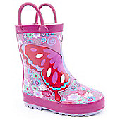 Brantano Girls Floral Butterfly Pink Wellington Boots - Pink