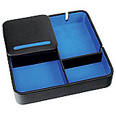 Black Leather Valet Charging Tray with Blue Lining