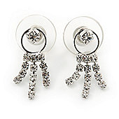 Bridal Wedding Prom Crystal Tassel Stud Earrings In Rhodium Plating - 20mm Length