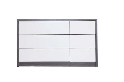 Alto Furniture Avola 6 Drawer Double Chest - Grey Avola Carcass With Cream Gloss