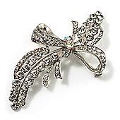 Asymmetrical Crystal Bow Brooch (Silver & Clear)