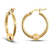 Jewelco London 9ct Yellow Gold polished hoops with spinning frosted 9ct Yellow Gold glitter Ball
