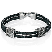 Mens Fred Bennett Textured Silver Two Layer Leather Bracelet