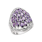 Jewelco London Rhodium-Plated Sterling Silver Cluster Gemstone Ring Size