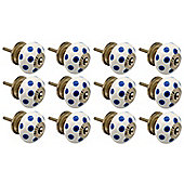 Ceramic Cupboard Drawer Knobs - Polka Dot Design - White / Dark Blue - Pack Of 12