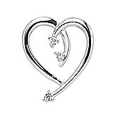 Rhodium-Coated Sterling Silver CZ Heart Pendant
