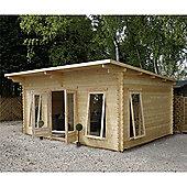 17ft x 13ft (5.2m x 4m) Pent Log Cabin (Single Glazing) 44mm T&G