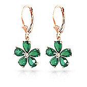 QP Jewellers Diamond & Emerald Flower Leverback Earrings in 14K Rose Gold