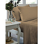 Catherine Lansfield Home Non Iron Percale Combed Polycotton King Size Flat Sheet CARAMEL