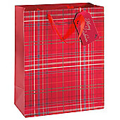 Tesco Red Tartan Christmas Gift Bag, Large