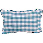Homescapes Cotton Block Check Blue Scatter Cushion, 30 x 50 cm