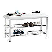 3-Tier Storage Shoe Rack With Bench - White
